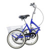 """Adult Folding Tricycle Trike 20"""" 3 Wheeler Bicycle Portable Blue"""