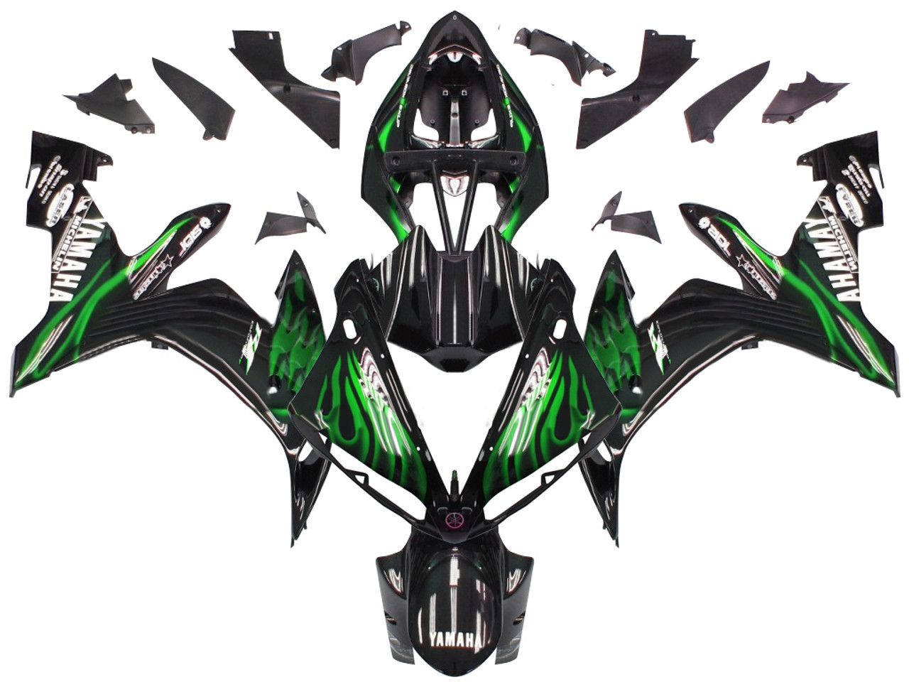 Fairings Yamaha YZF-R1 Black & Green Flame R1 Racing (2004-2006)