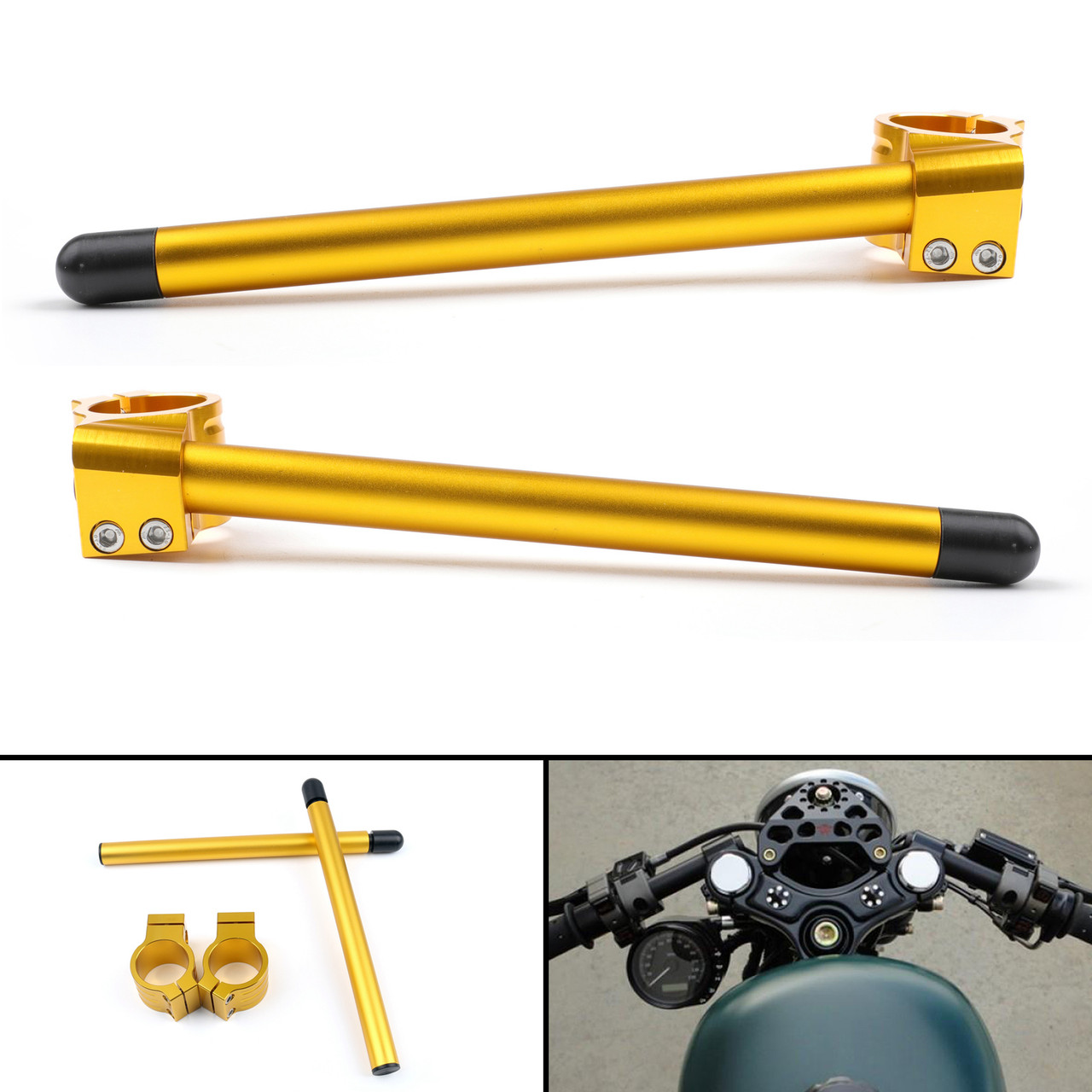 41mm Clip-On Handlebars Universal Motoycycle CBR VTR GSX GSXR SV ZX Mille R6 R1, Gold