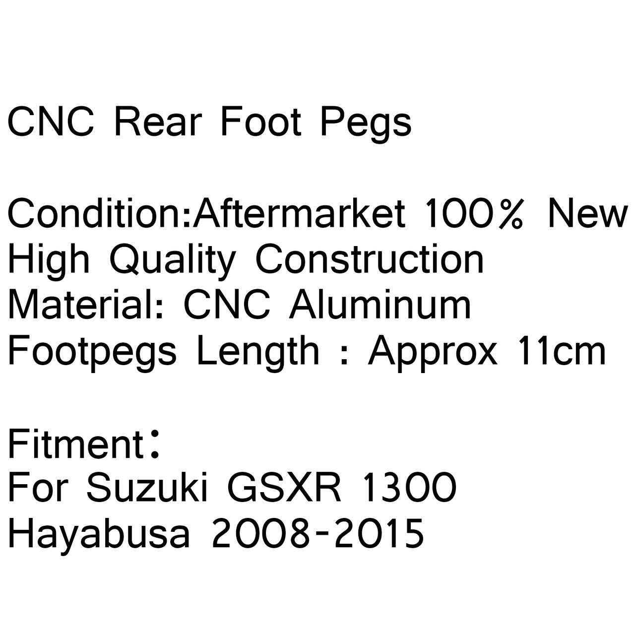 CNC Rear Passenger Footrest Foot Pegs Suzuki GSXR 1300 Hayabusa 2008-2015 Black