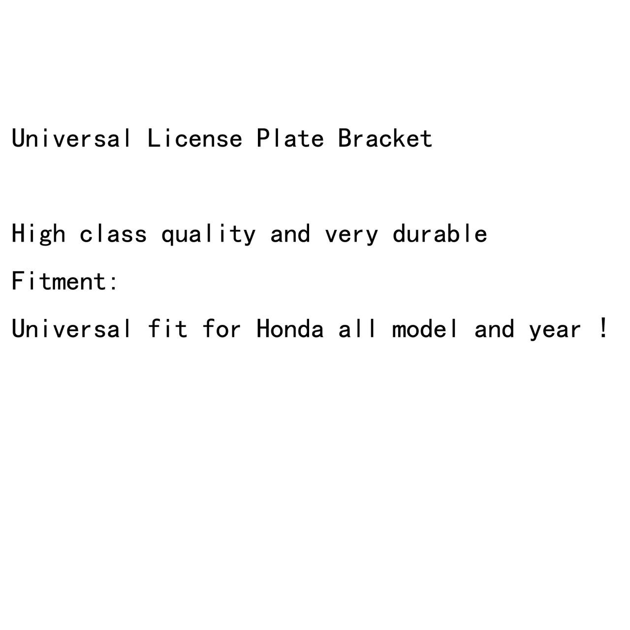 Universal License Plate Bracket Mount Holder For Honda CBR600RR 1000RR Black