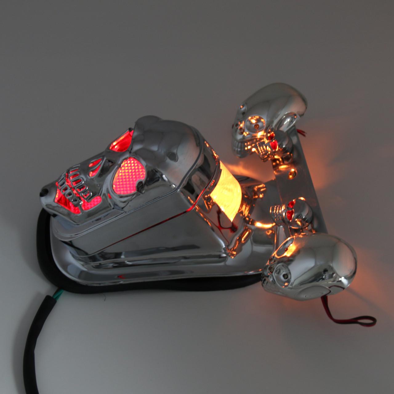 Skull Tail Light Rear Indicators Turn Signals License Tag Bracket Set Harley Davidson, Chrome, Blue LED Indicators