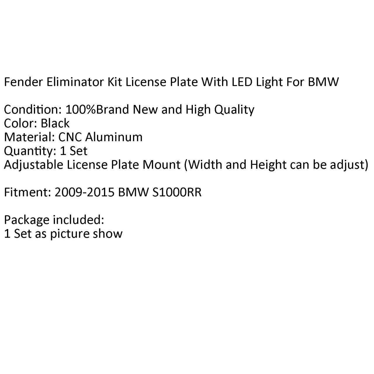 CNC Fender Eliminator LED License Plate Holder BMW S1000RR/S 1000R 2009-2015