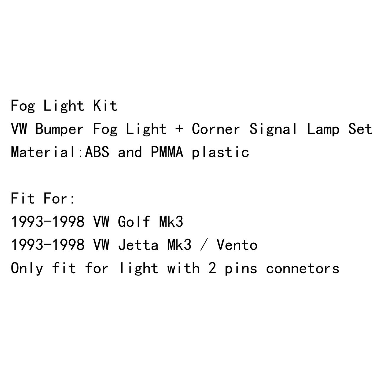 Front Smoke Lens Bumper Fog Light &Signal Lamp Kit VW Jetta Golf MK3 (93-98) Smoke