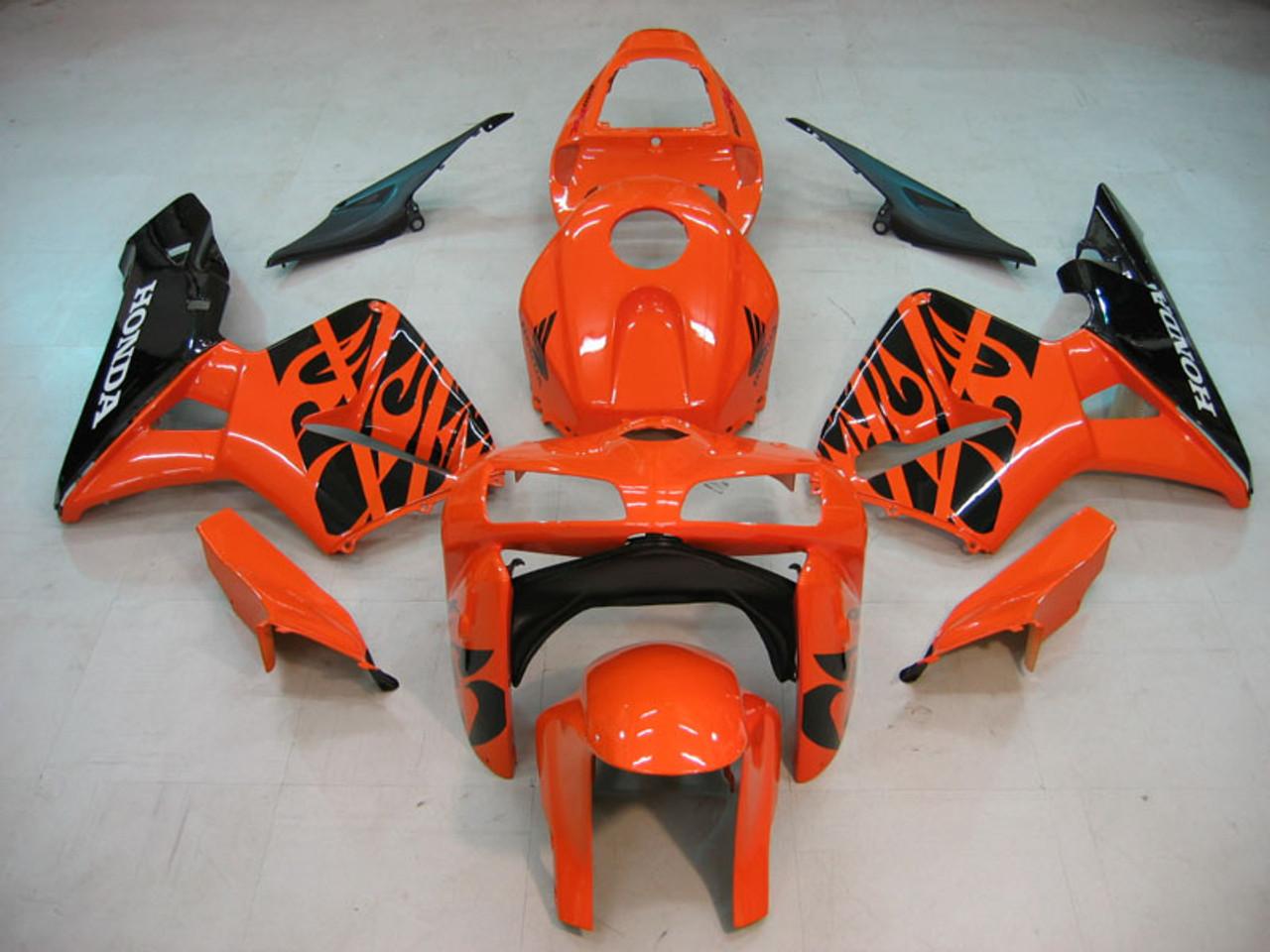Fairings Honda CBR 600 RR Orange & Black Tribal Honda Racing (2005-2006)