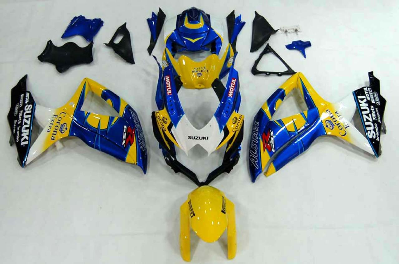 Fairings Suzuki GSXR 600 750 Yellow Blue Alstare Corona Racing  (2008-2010)