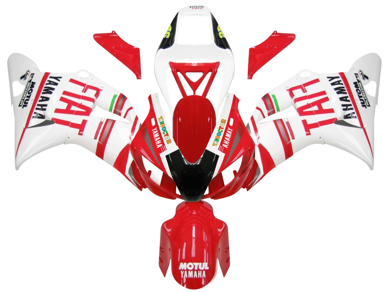 Fairings Yamaha YZF-R1 Red White No.46 FIAT  R1 Racing (1998-1999)