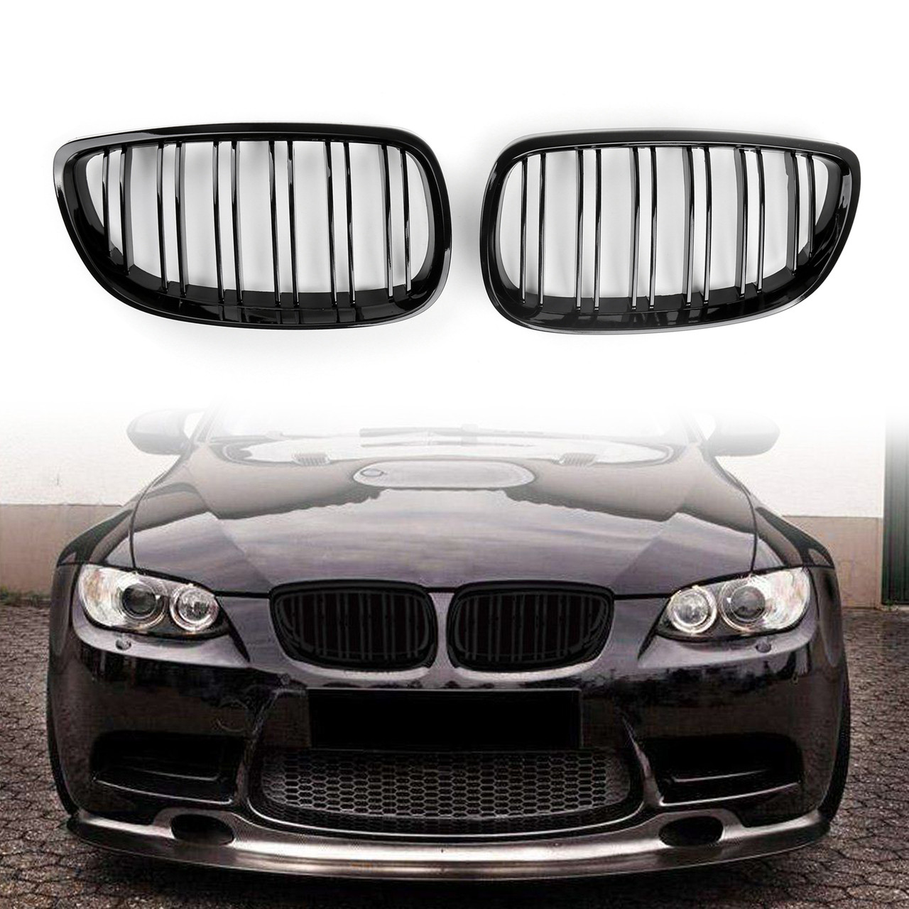 Kidney Grille Grill Double Slots BMW E92 E93 3 Series Coupe 2 Door 2006/07-2013 Gloss Black