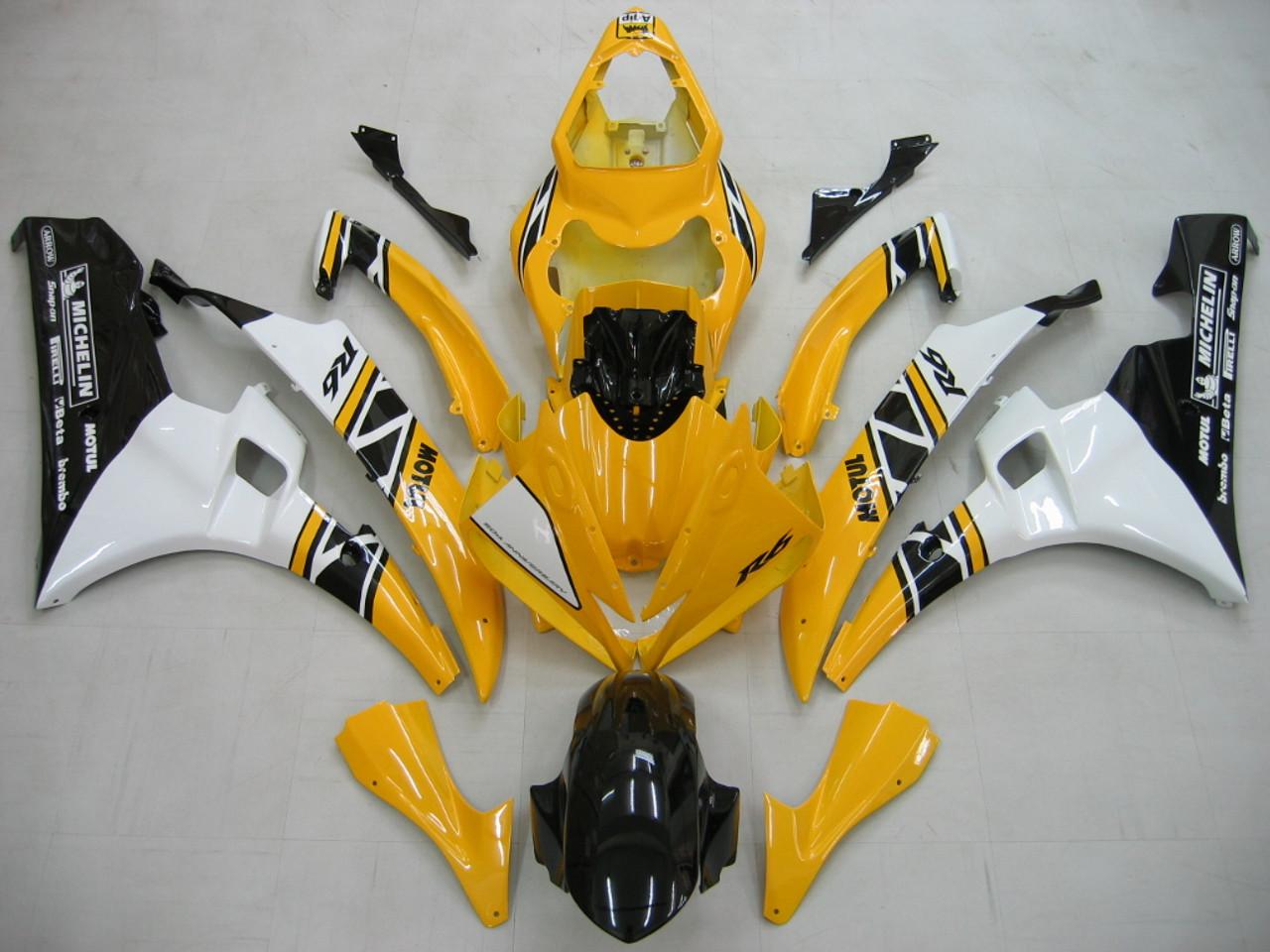 Fairings Yamaha YZF-R6 Yellow White Black Motul R6 Racing (2006-2007)