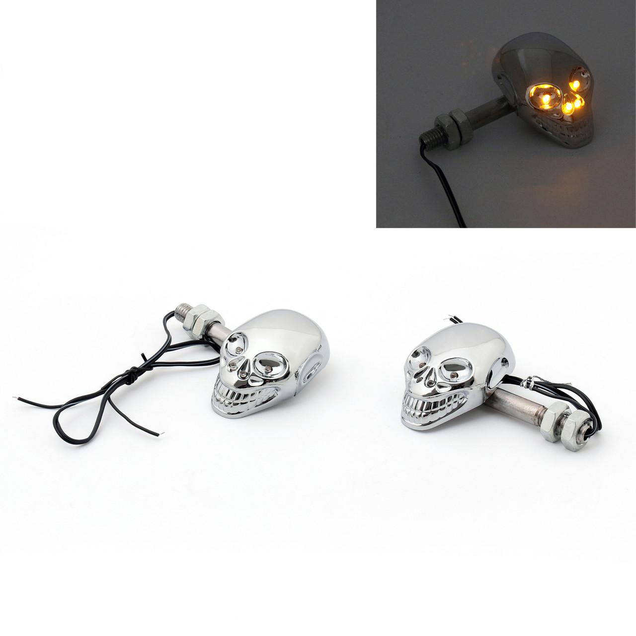 Skull Skeleton Head LED Indicators Turn Signals Universal Fit Custom Chopper, Chrome