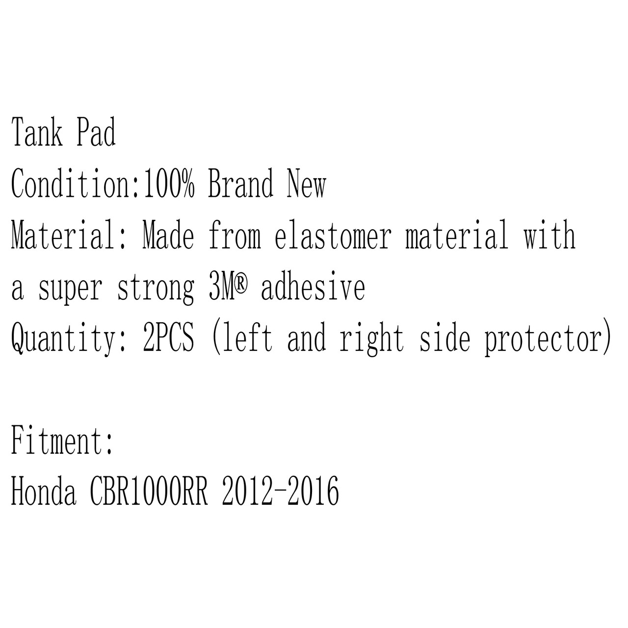 Tank Traction Pad Side Gas Knee Grip Protector 3M Honda CBR1000RR (2012-2016)