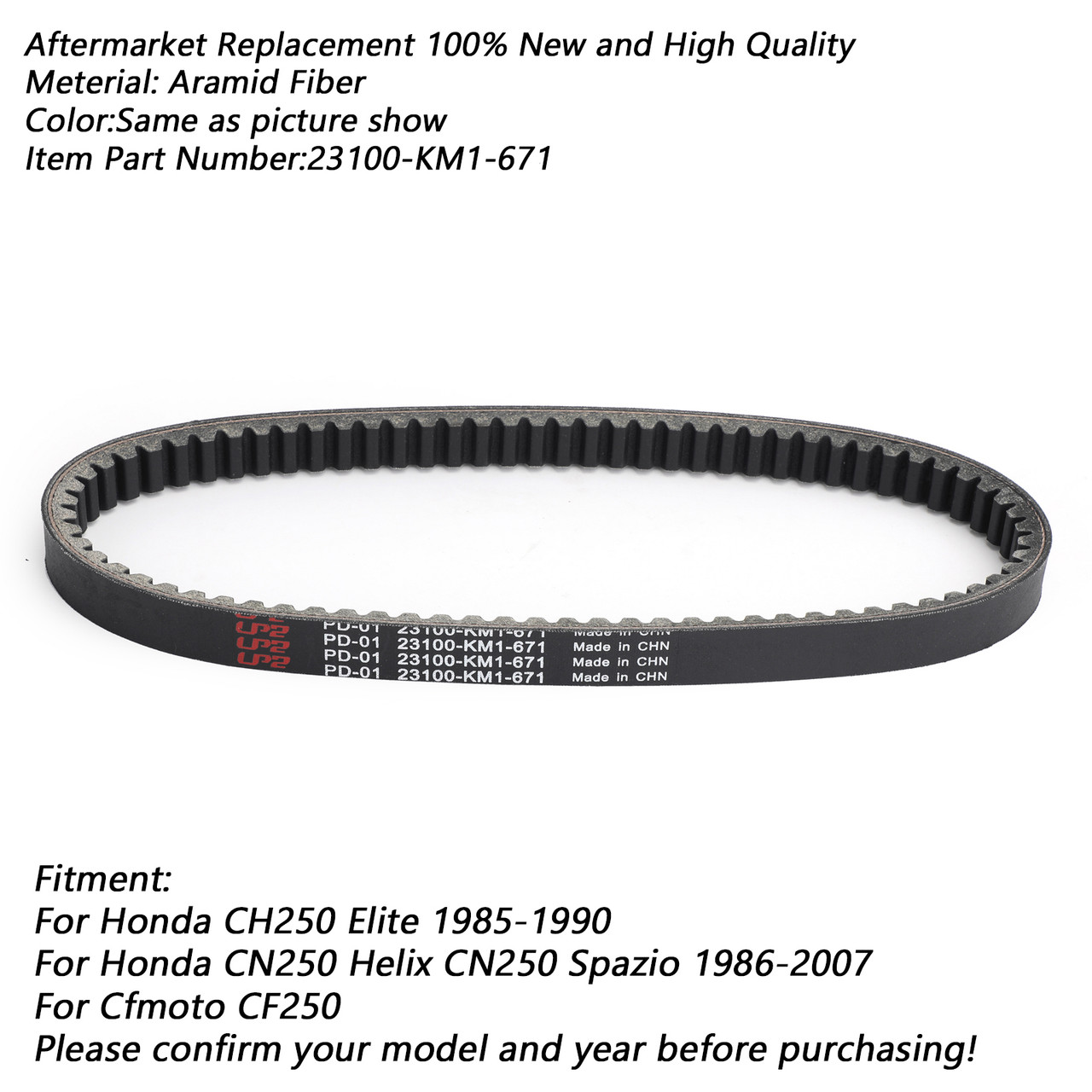 Premium Drive Belt 23100-KM1-671 Honda CH250 Elite CN250 Helix Spazio