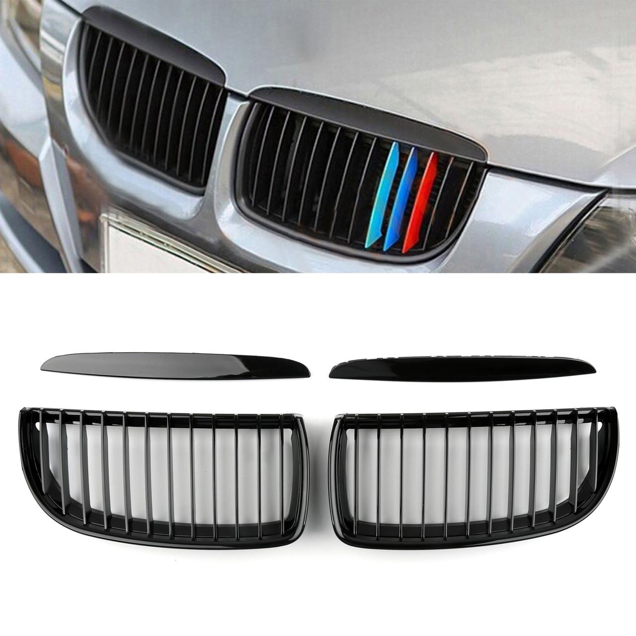 Kidney Grille BMW E90 3 Series Sedan Wagon 4 Door (05-08) Gloss Black