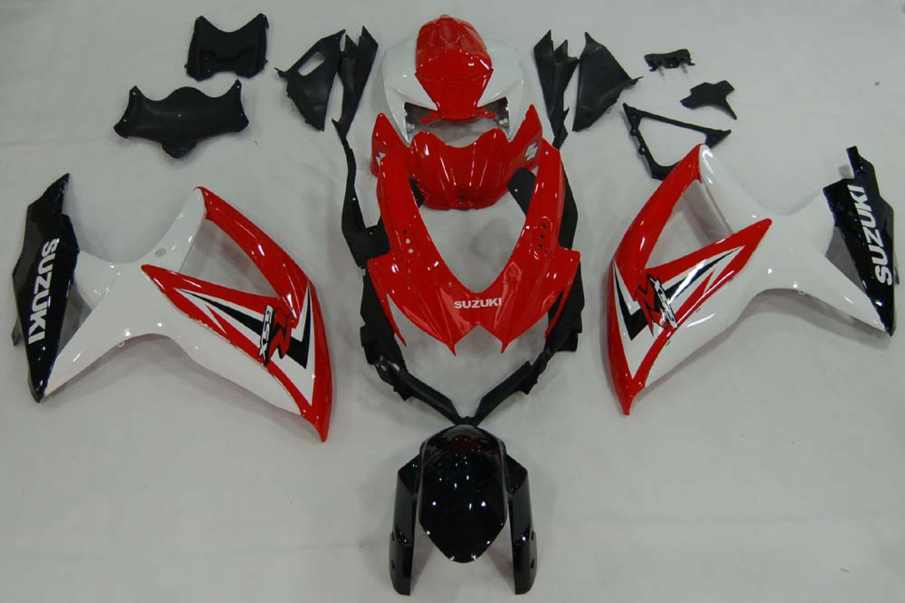 Fairings Suzuki GSXR 600 750 Red White Black GSXR Racing  (2008-2009-2010)