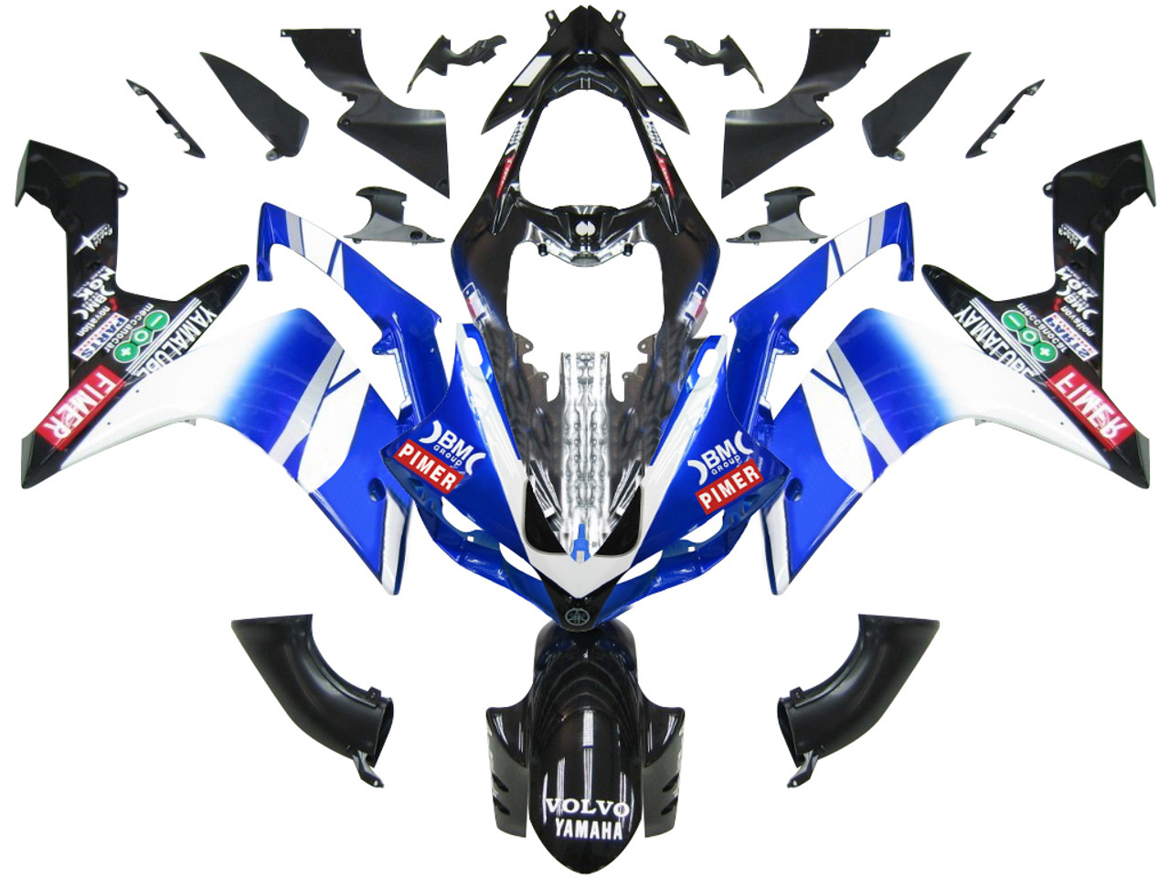 Fairings Yamaha YZF-R1 Blue Black BMC R1 Racing (2007-2008)