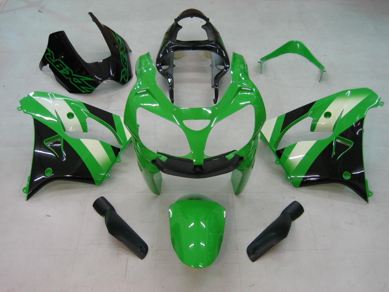 Fairings Kawasaki ZX 9R Green Black ZX9R Racing  (2000-2001)