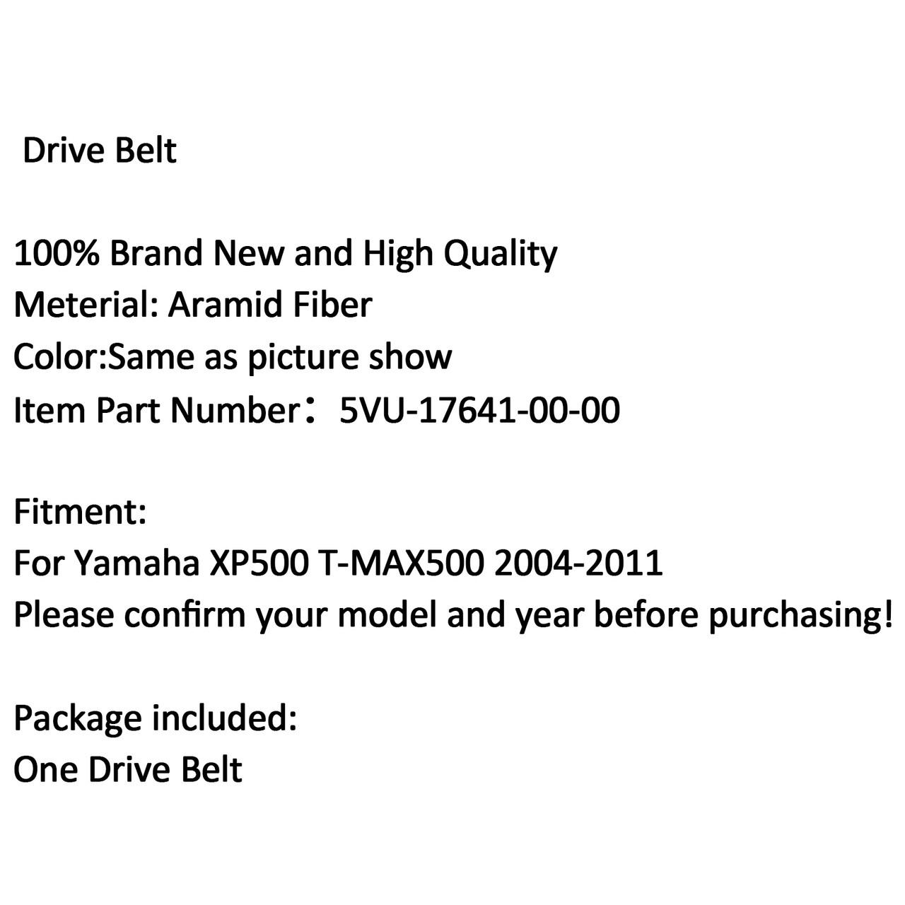Scooter Drive Belt For Yamaha XP500 T-MAX 500 2004-2011 5VU-17641-00-00 (M510-A008-Black)
