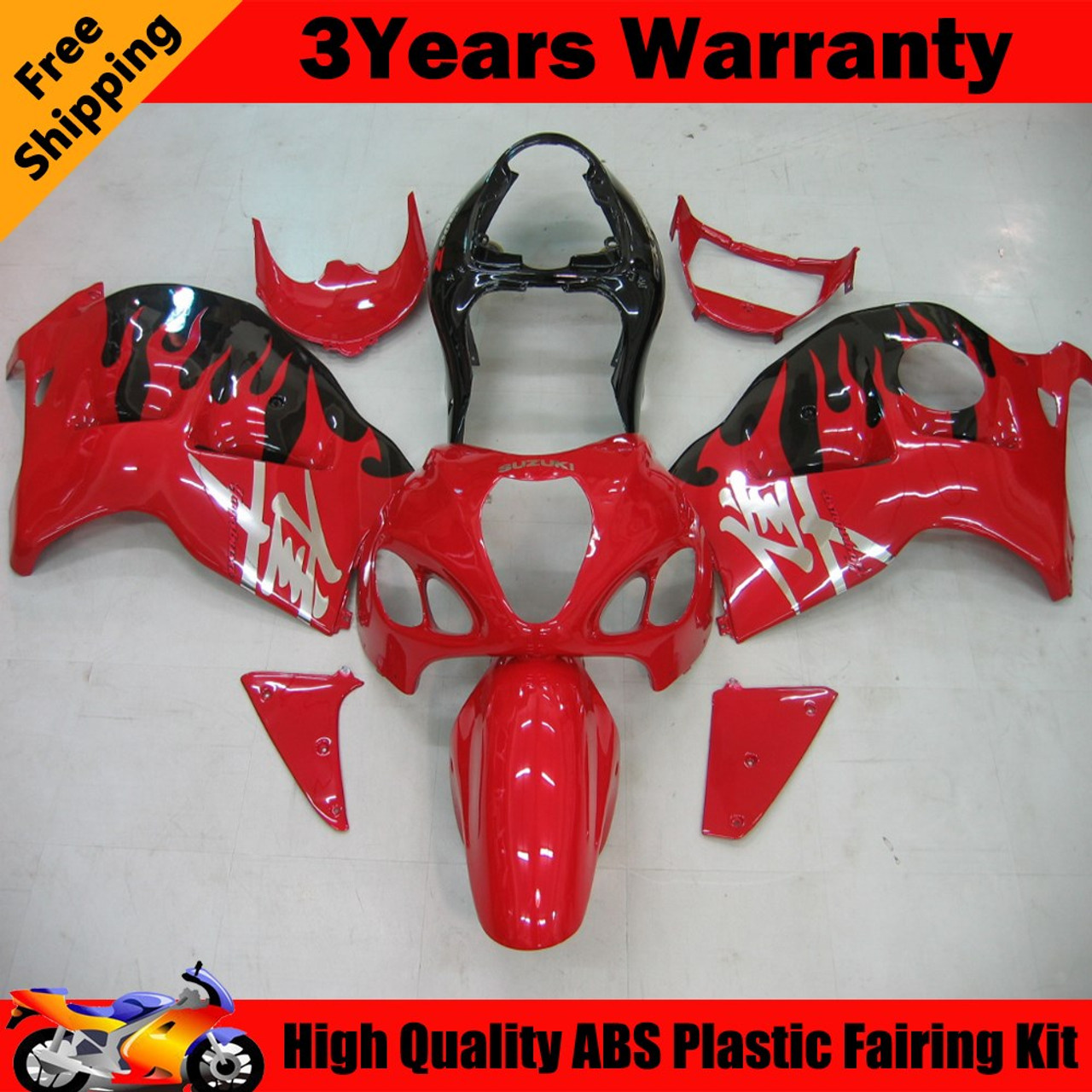 Fairings Suzuki GSX1300 Hayabusa Red & Black Hayabusa Racing  (1999-2007)