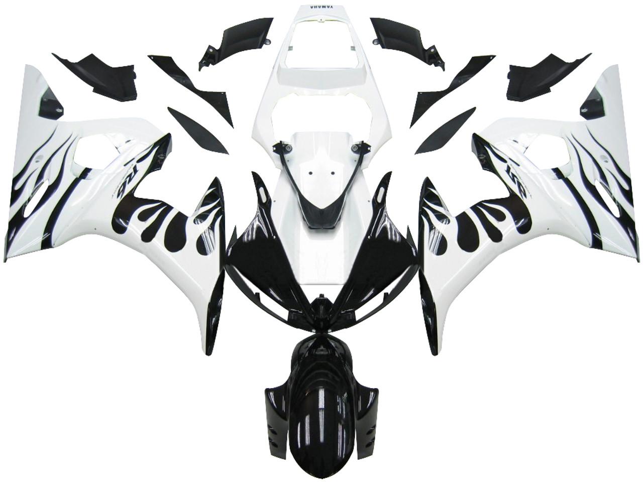 Fairings Yamaha YZF-R6 White Flame Black R6 Racing (2003-2005)