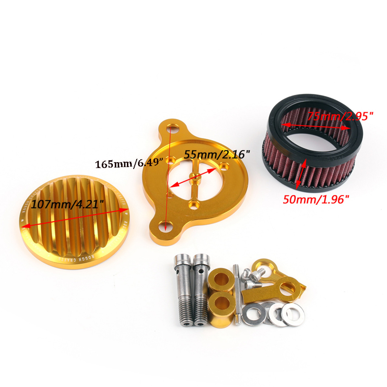 Air Cleaner Finned Intake Filter System Kit Harley Sportster XL883 XL1200 (88-15) Gold