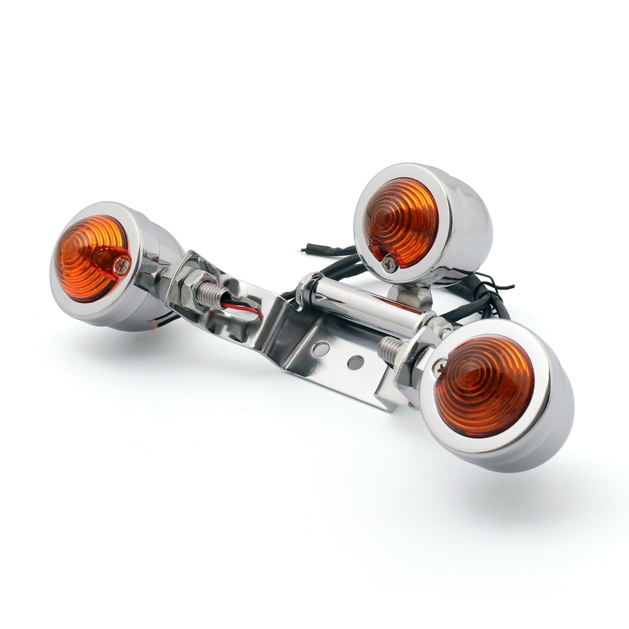 License Plate Tail light Indicator Turn signal Mount Universal Fit Custom Chopper Harley, Chrome
