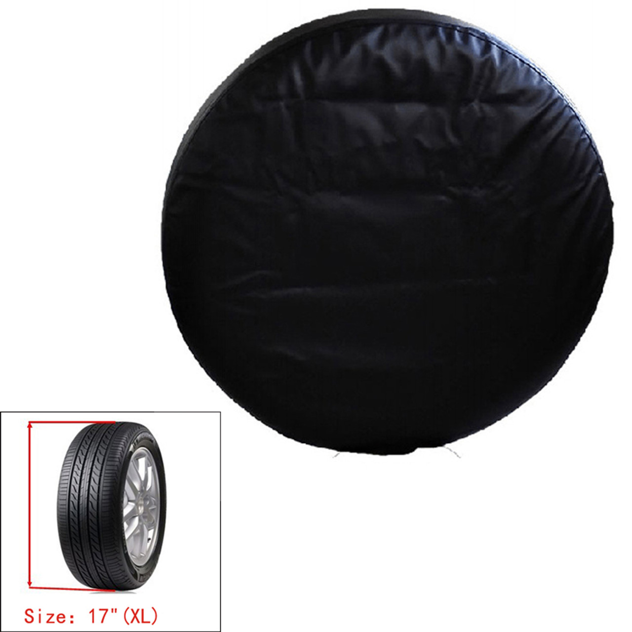 "17"" XL PU Spare Wheel Tire Cover Storage Bag Heavy Duty Vinyl, Black"