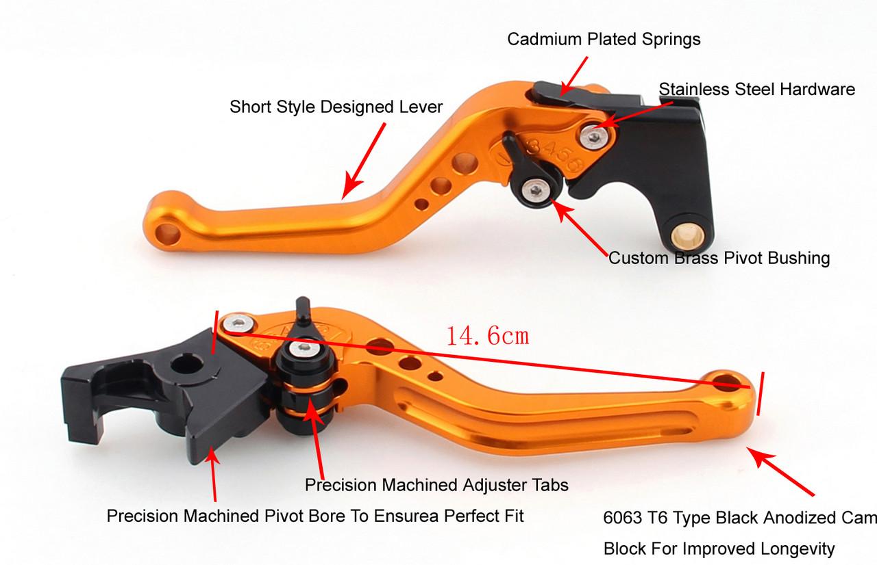 Shorty Adjustable Brake Clutch Levers Kawasaki ZX1400 ZX14R ZZR1400 2006-2017 (F-88/H-88)