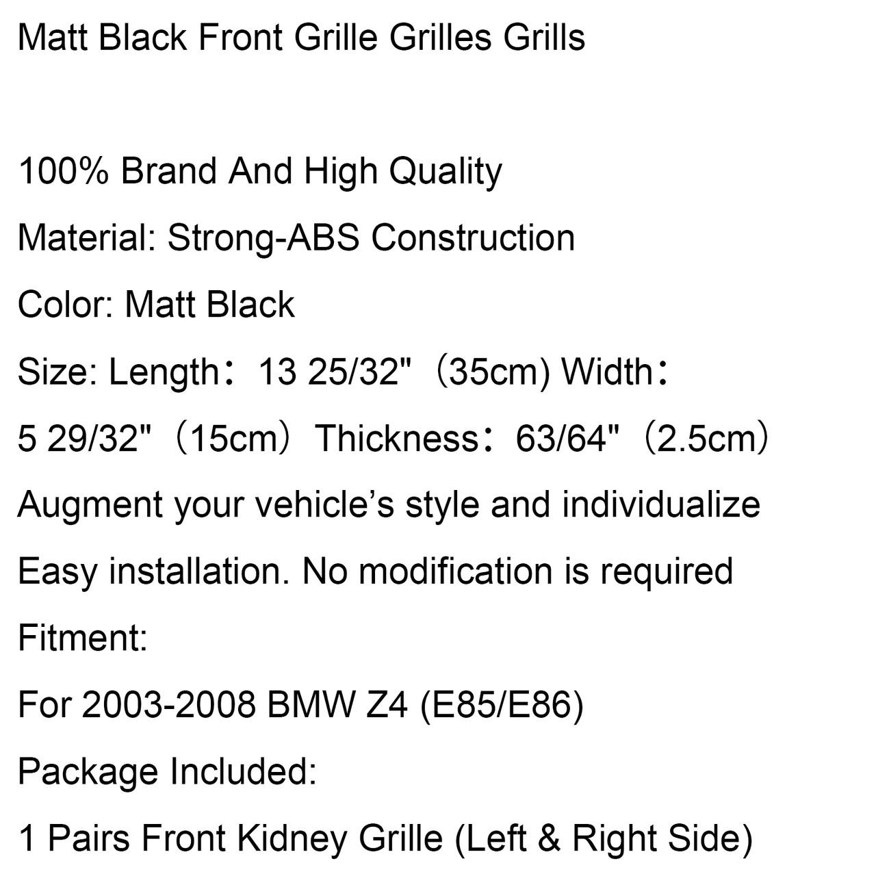 Sports Kidney Grille Grill For BMW Z4 E85 E86 (2003-2008), Matte Black