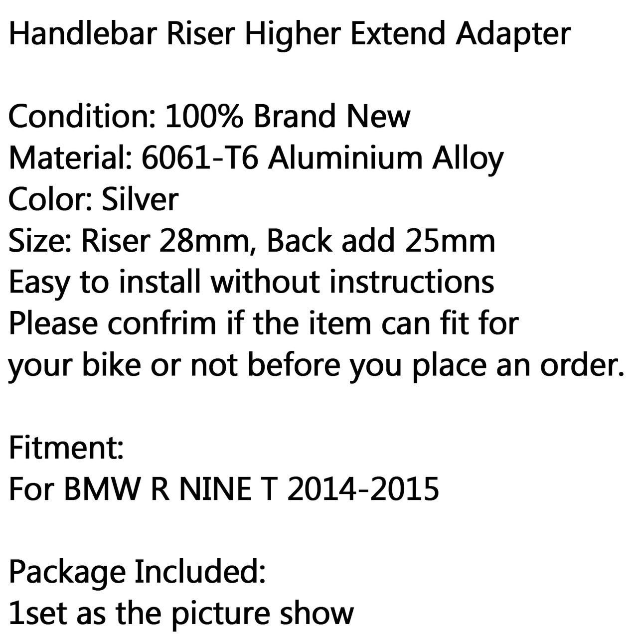 28mm Riser Handlebar Higher Extend Adapter Add BMW R1200 R NINE T (2014-2015), Silver