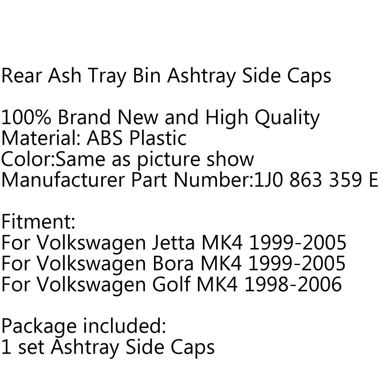 2PCS 1J0 863 359E Car Rear Seat Ash Tray Bin Ashtray Box VW Bora Golf Mk4