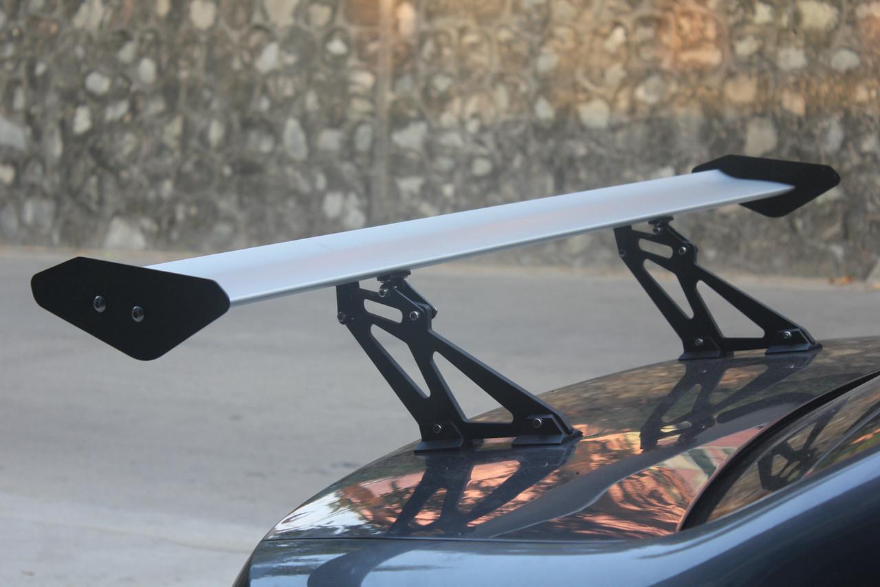 Universal Sedan Aluminum GT Rear Trunk Wing Racing Spoiler With Red Light, Silver #E1