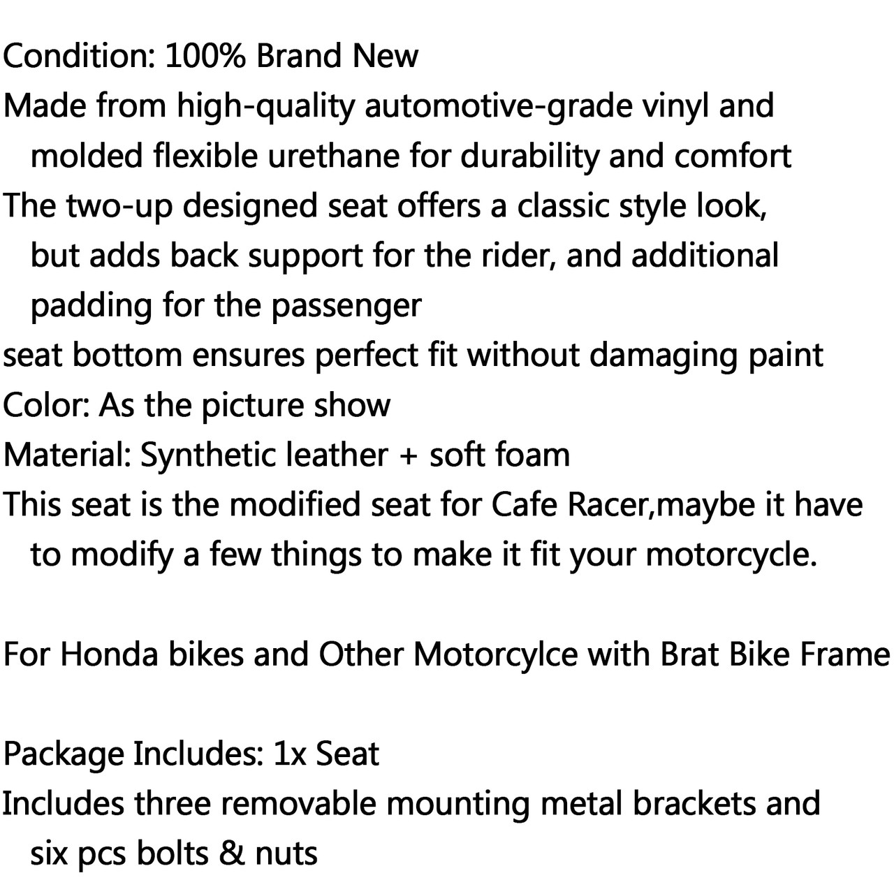 Hump Custom Cafe Racer Seat Vintage Saddle Honda CB350 CB450 CB750