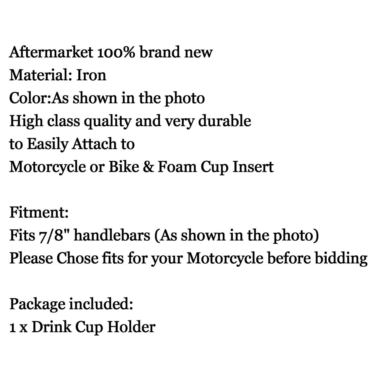 """7/8"""" Handlebar Cup Holder Universal Metal Drink Holder Harley, Black"""