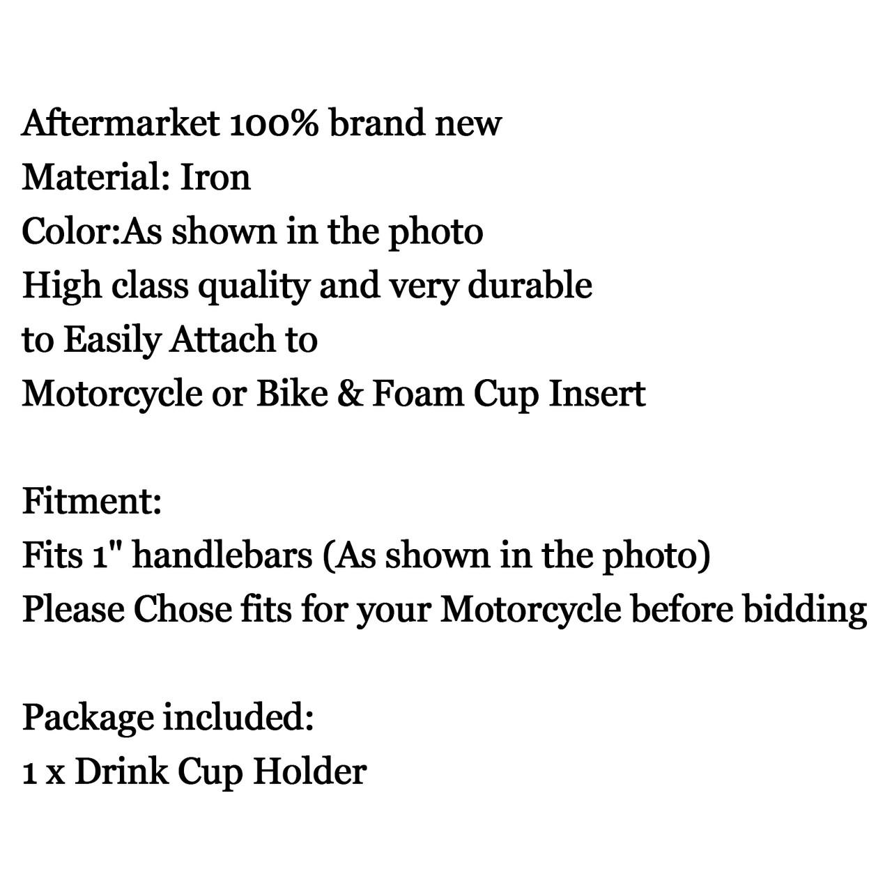 """1"""" Handlebar Cup Holder Universal Metal Drink Holder Fit Harley, Black"""