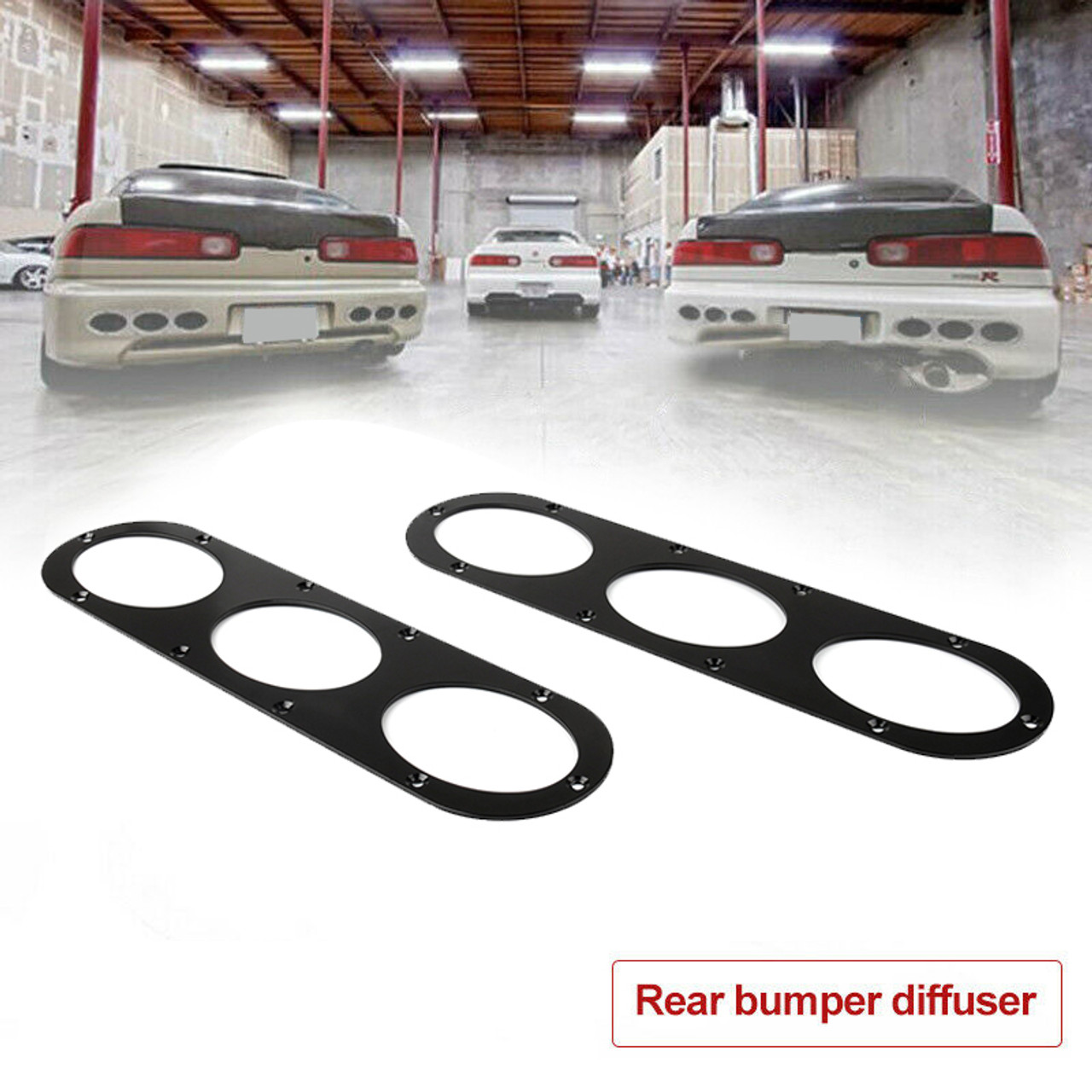 Universal Aluminum Rear Bumper Race Air Diversion Diffuser Panel, Black
