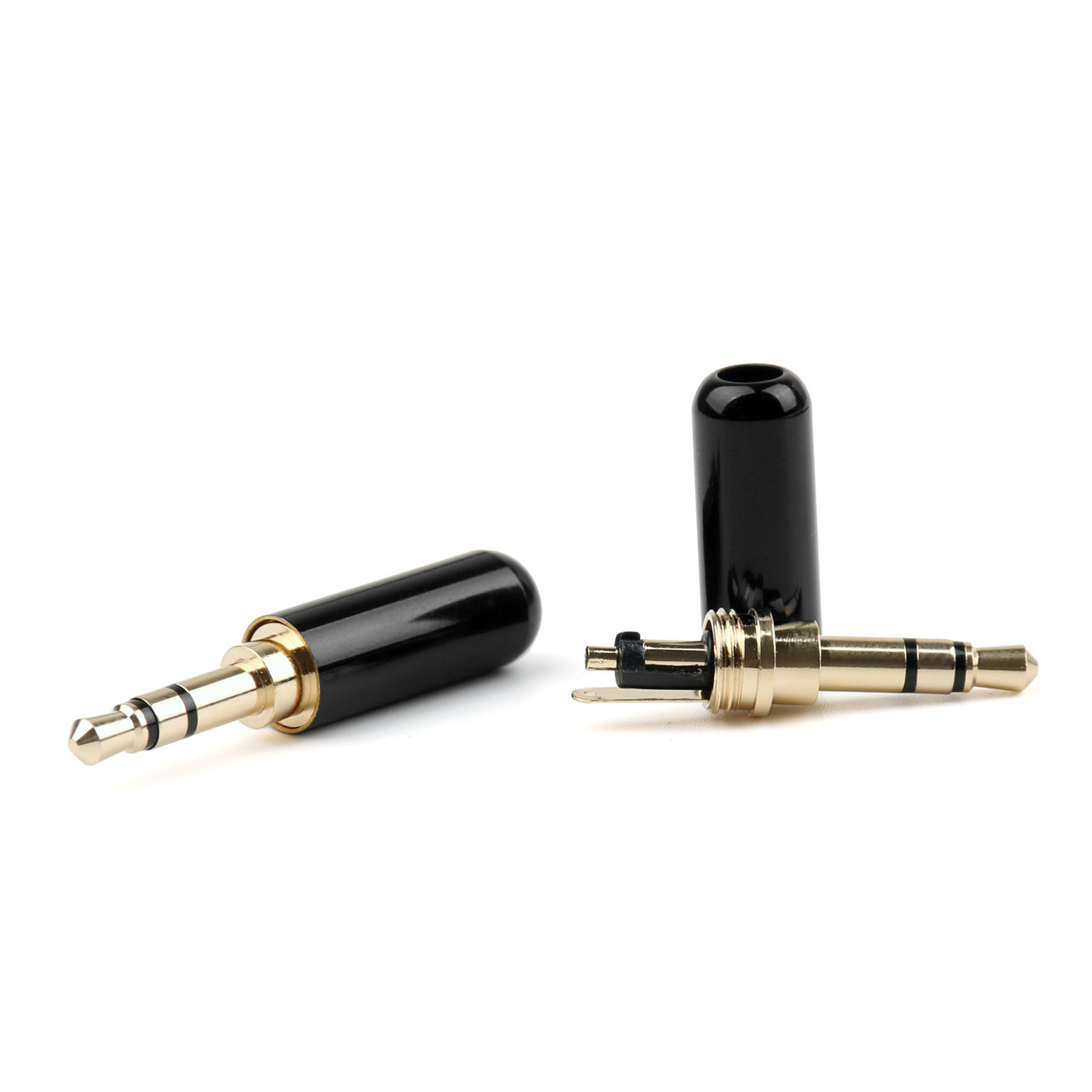 Mad Hornets 3PCS Copper Gold Plated 3.5mm Male Stereo Mini Jack Plug Soldering