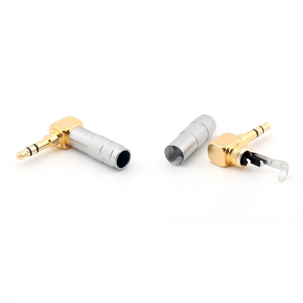 Mad Hornets 10PCS Gold Plated 3.5mm Stereo 3 Pole Male Plug 90 Degree Audio Connector Solder