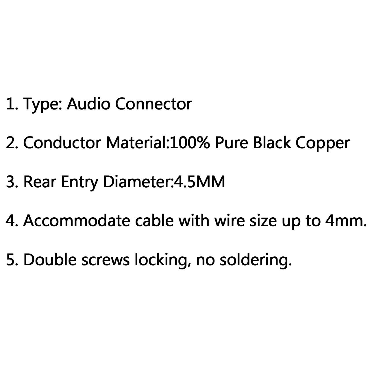 Mad Hornets 4PCS HIFI Rhodium Plated Carbon Fiber Speaker Cable Banana Terminal PLUG, Black