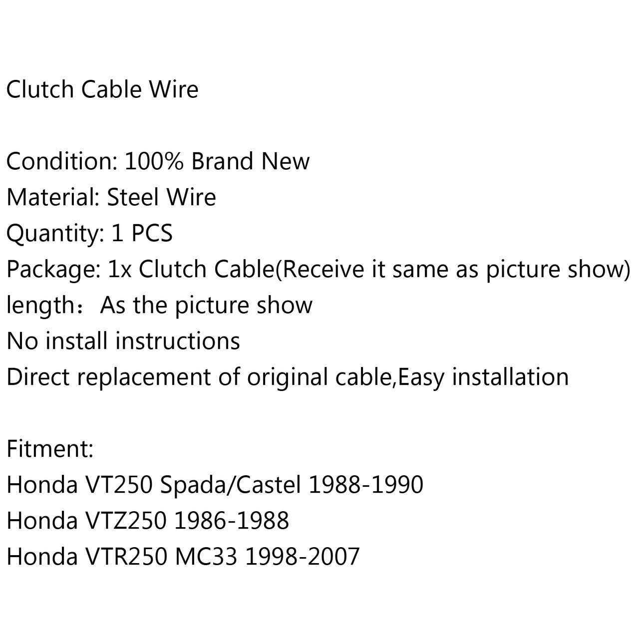 Clutch Cable Honda VT250 Spada Castel (88-90) VTZ250 (86-88) VTR250 MC33 (98-07)