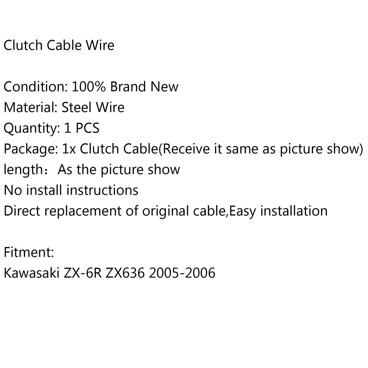 Clutch Cable Wire Steel Braided Kawasaki ZX-6R ZX636 (2005-2006)