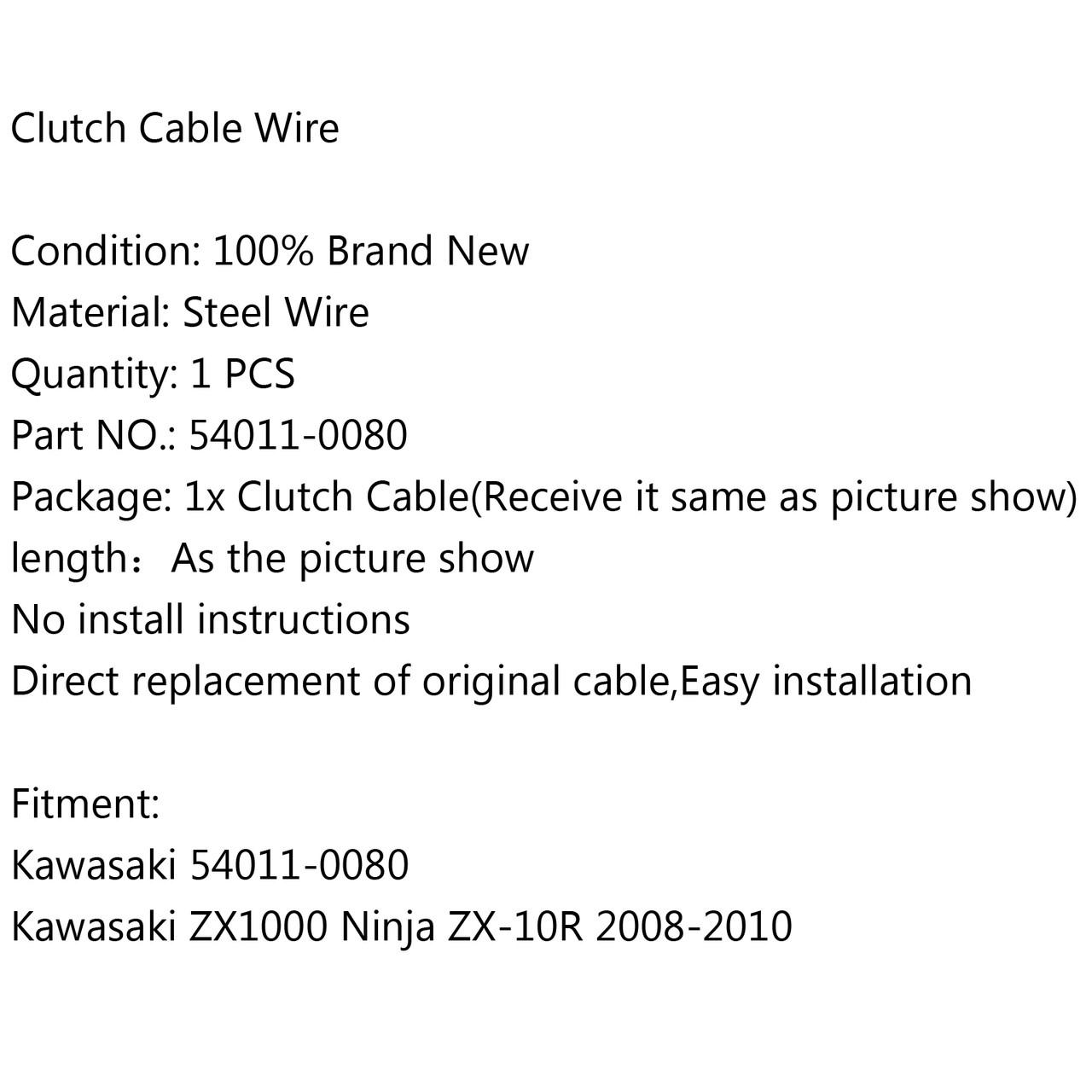 Clutch Cable Wire Steel Braided 54011-0080 Kawasaki ZX1000 Ninja ZX-10R (2008-2010)
