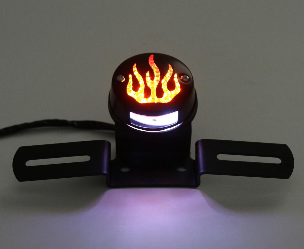 Rear Fender Tail light Brake Flame Fire Light For Harley Cafe Racer Bobber, Black