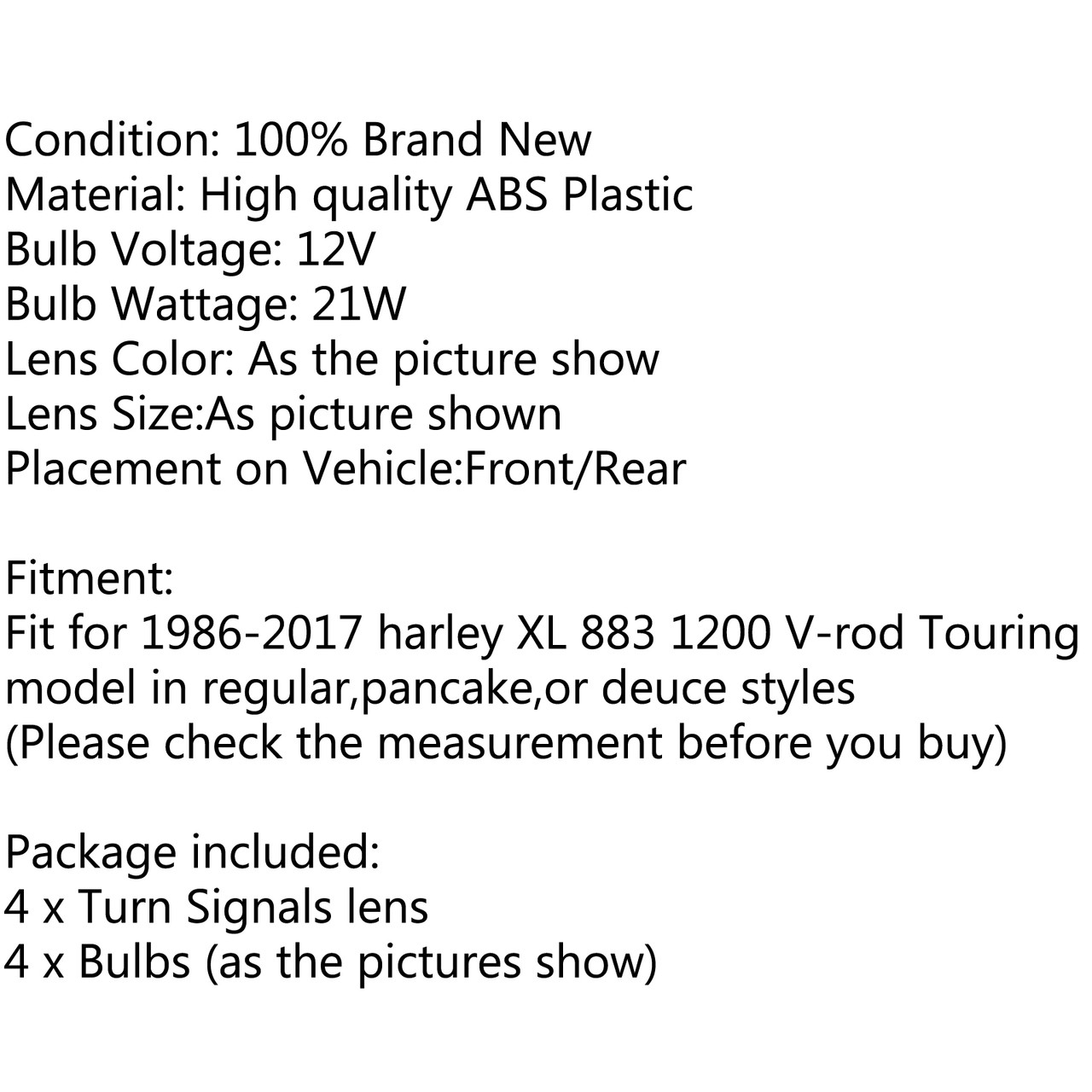 4PCs Turn Signal Light Lens Cover + Bulbs For Harley XL 883 48 Sportster, Gunmetal