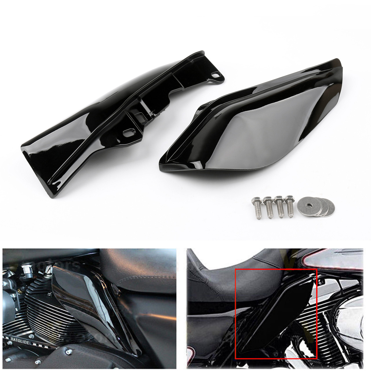 Mid-Frame Air Heat Deflector Trim Accents Shield For Harley Touring Electra Glide 09-13