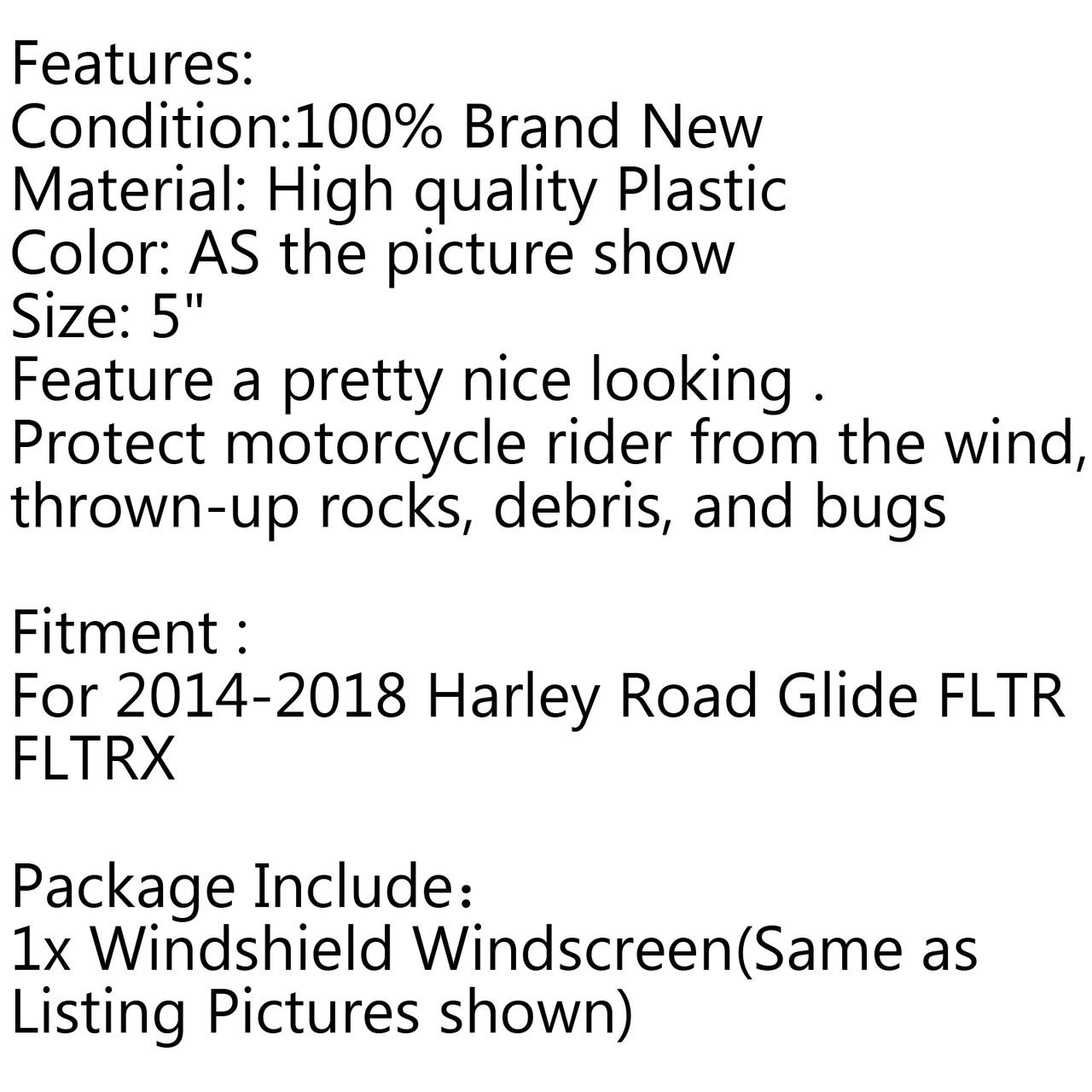 "5"" Windshield Fairing Windscreen For Harley Electra Street Glide ( 14-17) A"