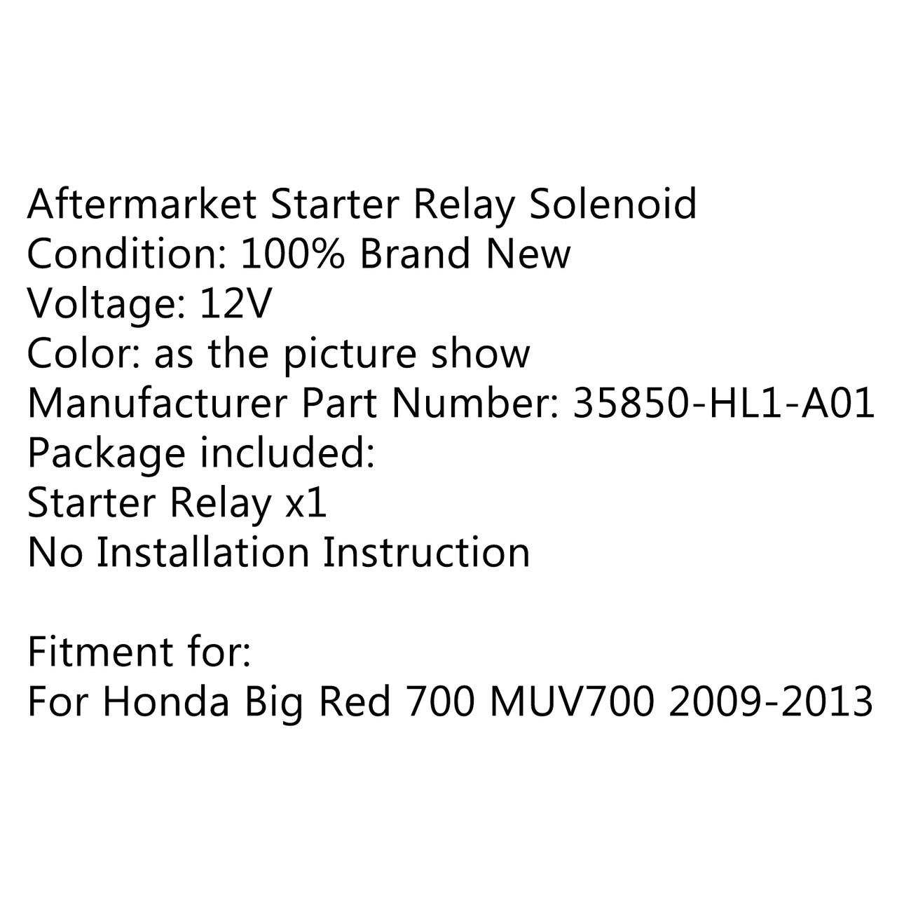 Starter Solenoid Relay Ignition For Honda Big Red 700 MUV700 (2009-2013)