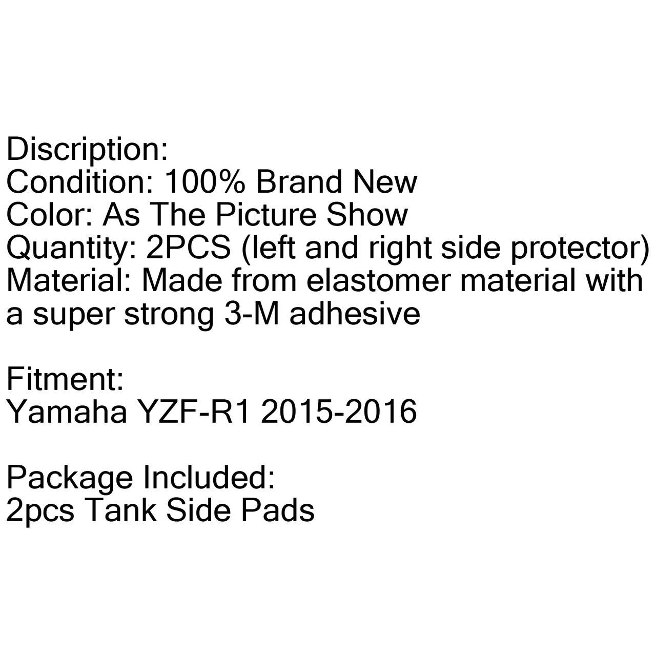 Side Gas Tank Traction Pads Knee Grip Protector For Yamaha YZF-R1 (2015-2016) Black (Side-079-Black)