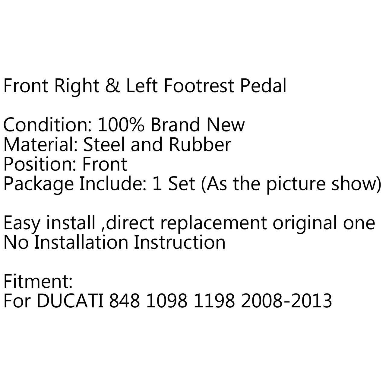 Front Footrest Pedals Foot Pegs For Suzuki GSXR600 GSXR750 (96-05) GSXR1000 (01-04) GSF1200 Bandit1200 (96-06)