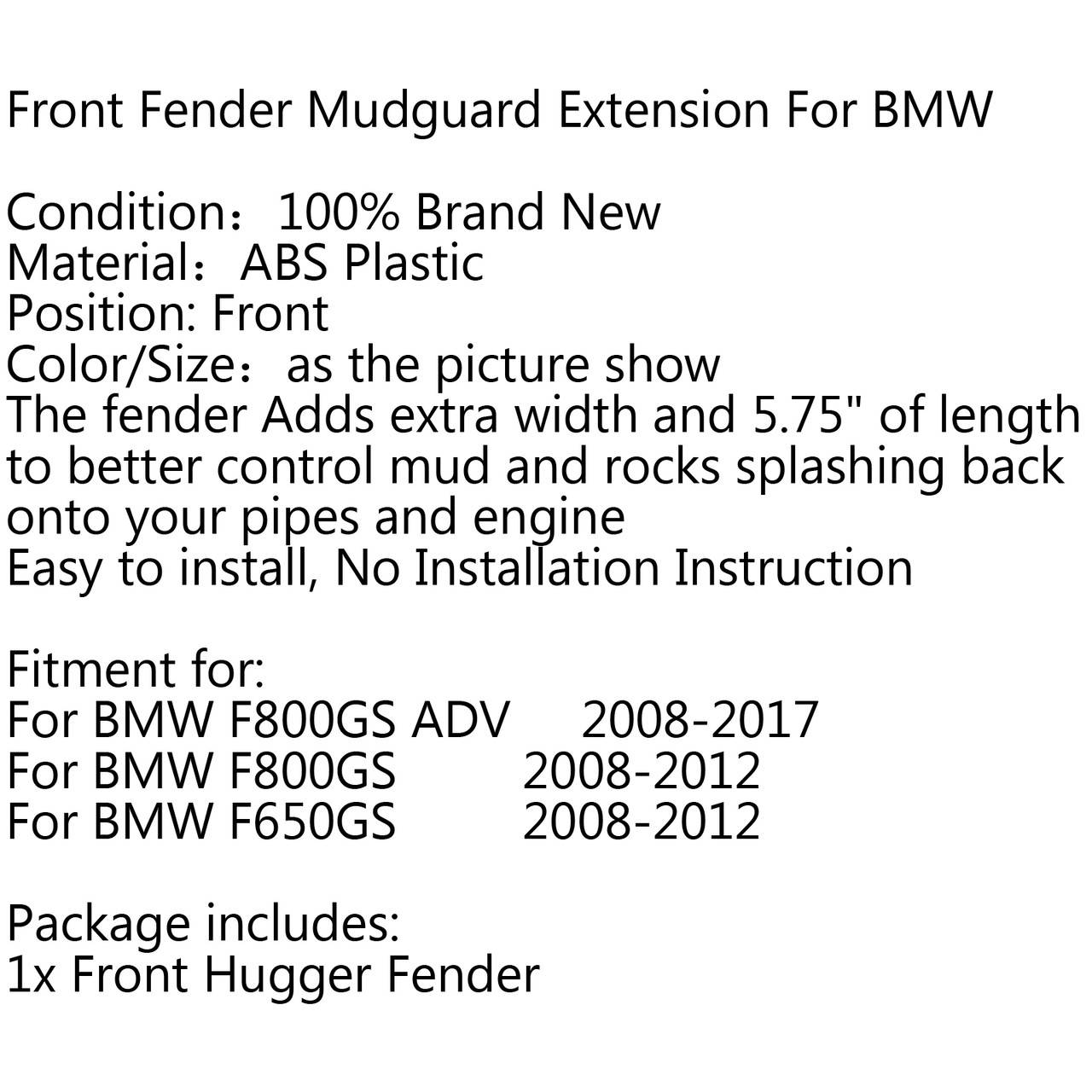 ABS Motorcycle Front Fender Extender Extension For BMW F650GS F800GS F800 ADV