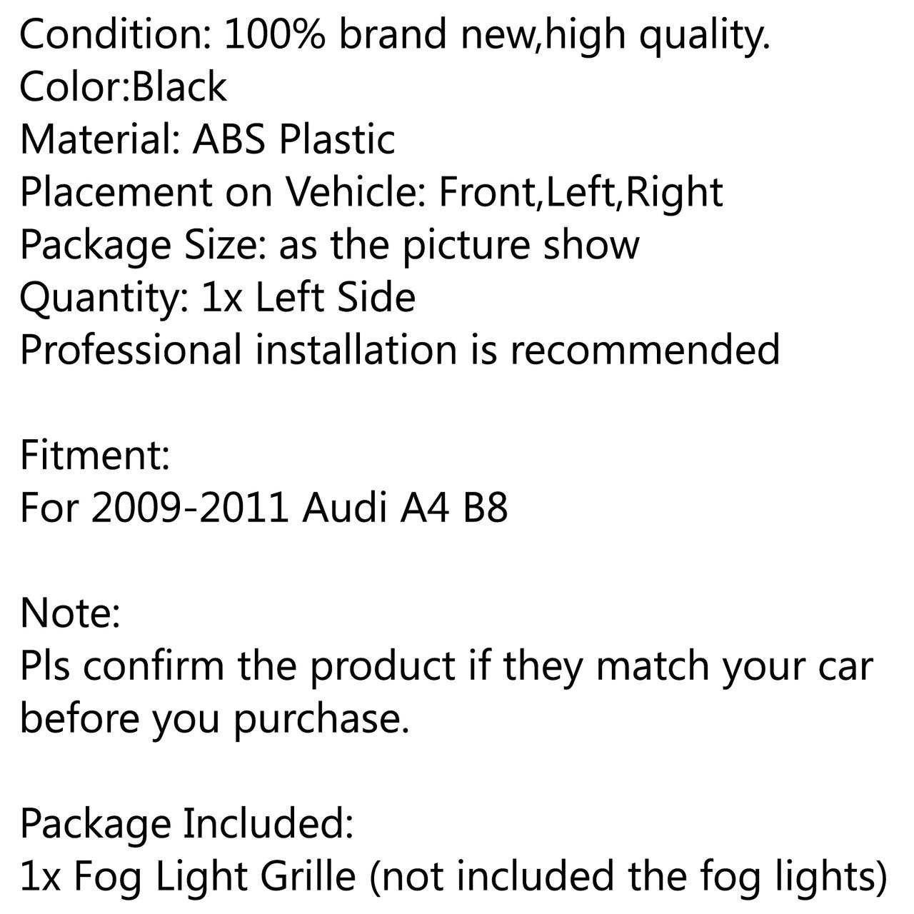 Bumper Grills Left Fog Light Grilles Cover for Audi A4 B8 (2009-2011) Black